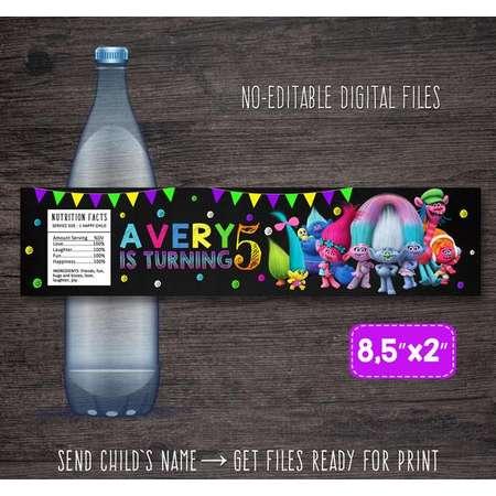 Trolls bottle labels, Trolls labels, Trolls water bottle labels, Trolls party labels, Trolls birthday party, Trolls printable party decor thumb