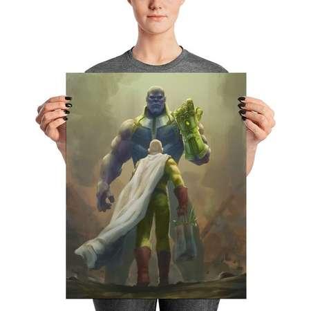 One Punch Man, Saitama Vs, Thanos Infinity War Anime Painting, Print Poster, Parody Anime, Anime Commission Art, Christmas Gift, For Otaku thumb