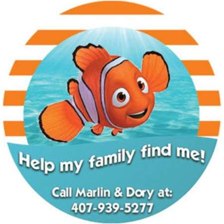 Help My Family Find Me Button - Finding Nemo Button - Identification Button - Emergency Contact Pin - I'm Lost Button thumb