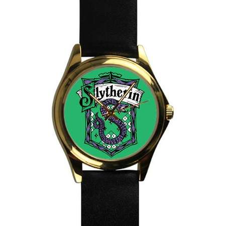 Slytherin House Harry Potter Wizard School of Magic Gold Leather Strap Watch thumb