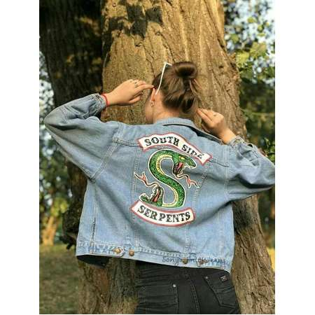 Hand painted denim jacket Riverdale, South side serpents, Riverdale jacket, Riverdale denim jacket, South side serpents jacket, jean jacket thumb