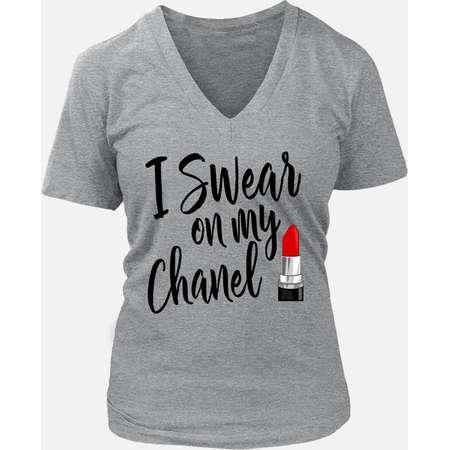I Swear On My Chanel T-shirt ~ Silver ~ Heather Gray ~ Grey ~ Coco Chanel ~ Lipstick Tee ~ Designer T-shirt ~ Fashion Designer thumb