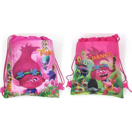 12 Piece Trolls Dreamworks Drawstring Bag Backpack for Party Favors Goodie Gift Birthday Bags Poppy Branch thumb