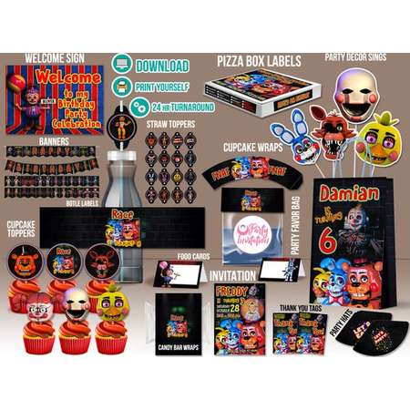 Personalized Five Nights At Freddy Party Kit DOWNLOAD ONLY Fnaf Supplies FNAF Printables Decoration