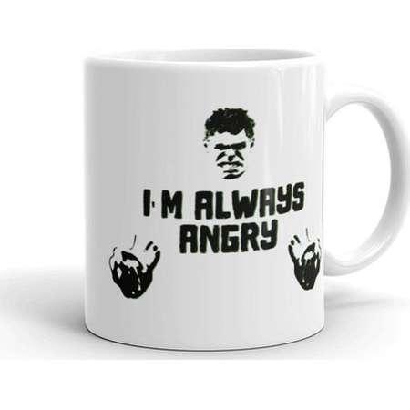 The Incredible Hulk Coffee Mug– I'm Always Angry Coffee Cup, Marvel Quote, Avengers, Superhero, Geek Gift thumb