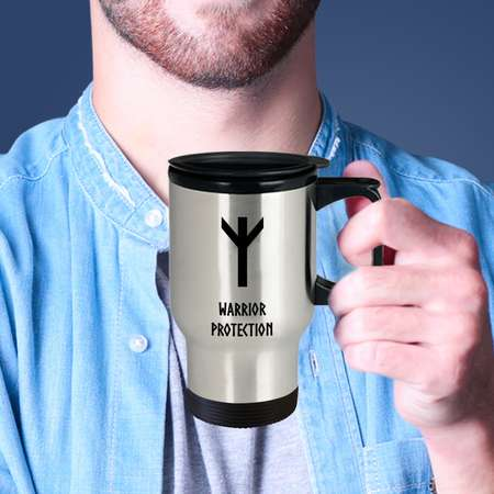 Warrior Protection Viking Rune Travel Mug Coffee on the go. While you're at it, flash some runes and make them look twice! Viking flair! thumb