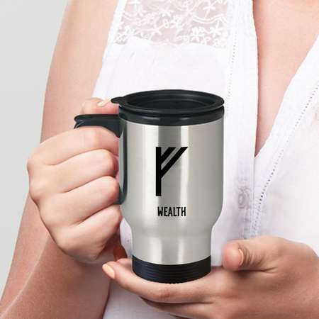 Wealth Viking Rune Travel Mug You drink coffee on the go. While you're at it, flash some runes and make them look twice! thumb