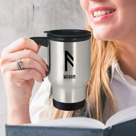 Wisdom Viking Rune Travel Mug You drink coffee on the go. While you're at it, flash some runes and make them look twice! thumb