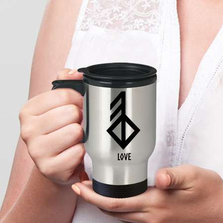 Love Viking Rune Travel Mug Coffee on the go. While you're at it, flash some runes and make them look twice! Viking flair! thumb