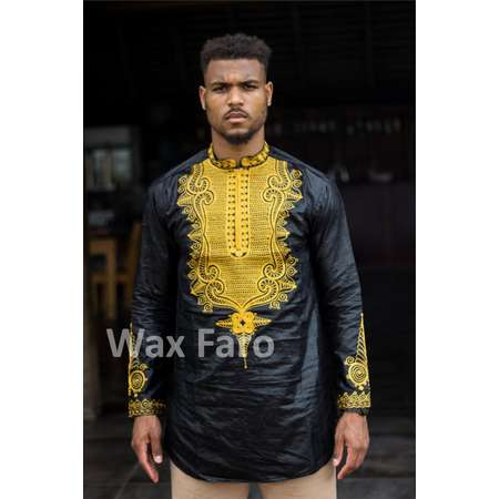 African men tunic embroidered SHAKA BLACK PANTHER thumb