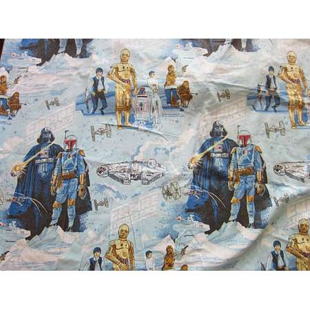 Star Wars 1979 Empire Strikes Back Twin Bed Sheets / Fabric for Quilting, 70s, Darth Vader, Han Solo, Boba Fett, Luke Skywalker thumb