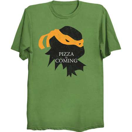 "Pizza is Coming - TMNT T-Shirt - Teenage Mutant Ninja Turtles - ""Distressed"" style print thumb"