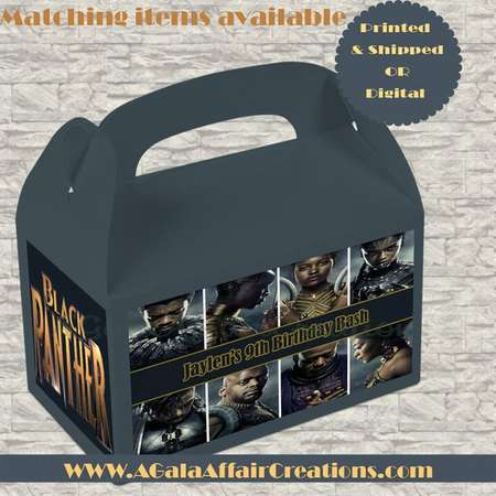 Black Panther Inspired Treat Bag LABELS ONLY-Favor Box-Black Panther Label- Custom Gable Box- Printables-Digital-Black Panther Birthday thumb