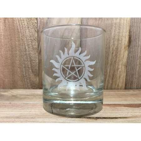 Custom Engraved Anti-Procession whiskey glass, Supernatural, glass, beer mug, glasses, Impala, Sam, Dean, Tattoo, Demons, Angels, thumb
