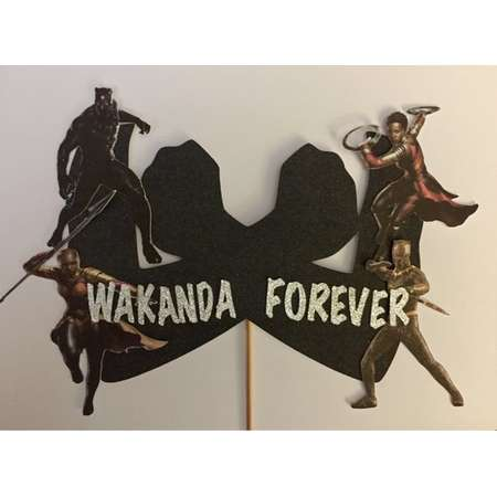 Wakanda Forever Black Panther Cake Topper, Marvel thumb