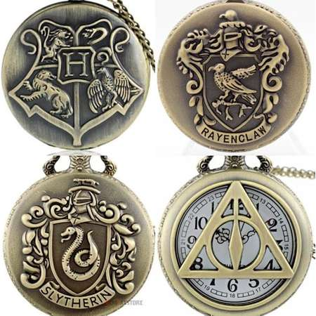 Harry Potter Hogwarts House Crest Triangle Slytherin Ravenclaw Bronze Pocket Watch Necklace Magic Fantasy thumb