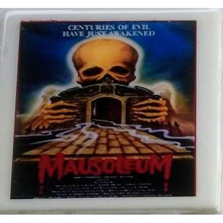 Mausoleum (1983) coaster Bobbie Bresee supernatural horror film Marjoe Gortner demonic possession Nightmare USA book UK video nasty list thumb