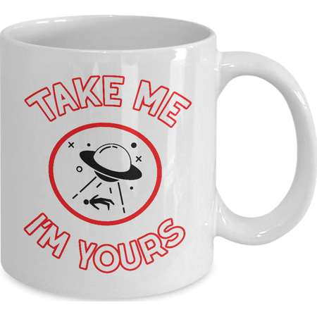 Alien Abduction Mug - UFO Aliens Naughty Valentine Gift Extraterrestrial Roswell Nerd Gift - Take Me I'm Yours - Coffee Tea Cup Ceramic thumb