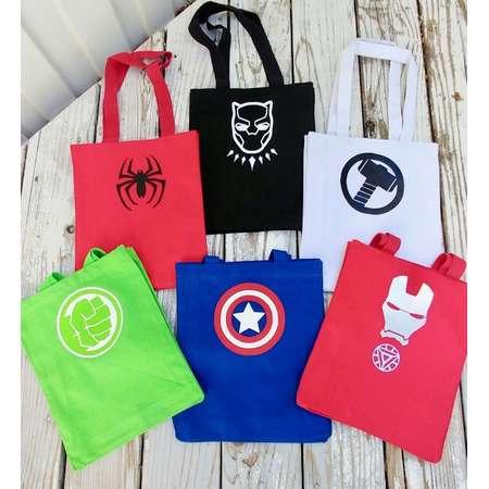 Custom Super Hero tote- Halloween Trick or Treat Bag- Marvel heros bags- Super hero costumes- Thor- Hulk- Iron Man- Spiderman- Black Panther thumb