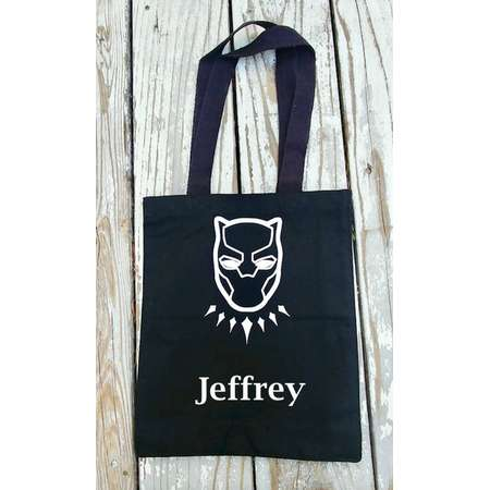 Custom Black Panther tote- Halloween Trick or Treat Bag- Super hero bag- Black Panther shoulder bag- Black Panther Costume- Avengers bag thumb