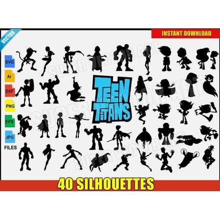 Teen Titans Vector Clipart Silhouette (SVG eps png) DC Movie Logo Robin Starfire Cyborg Raven Beastboy T-Shirt Sticker Vinyl Decal Party DIY thumb