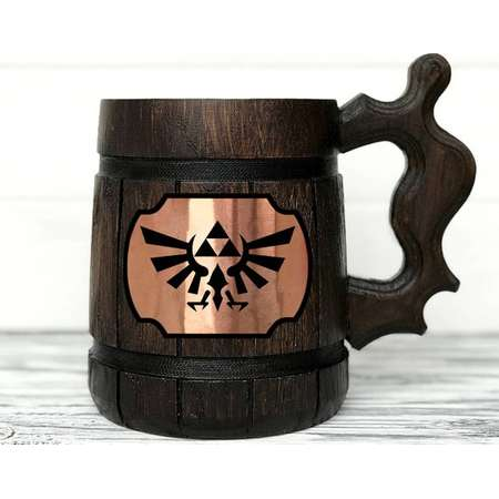 Legend Of Zelda Mug. Zelda Gift. Zelda Stein. Zelda Ornament Triforce Gamer Mug Custom Beer Steins Wooden Beer Tankard. Gifts for Gamer #100 thumb