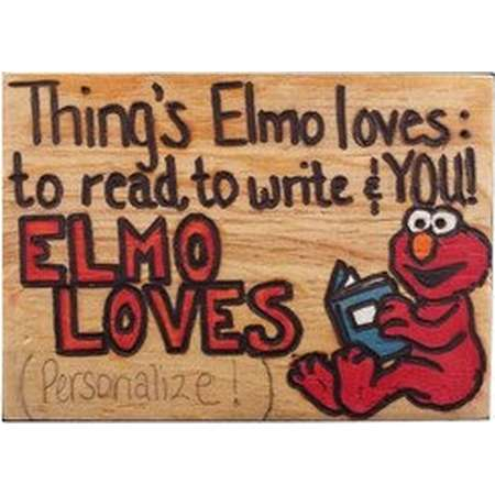 Elmo Sesame Street Wood Burn Art Children Kids present Red Orange Blue White Book Personalized Gift Watercolor Paint Color Pencils Rectangle thumb