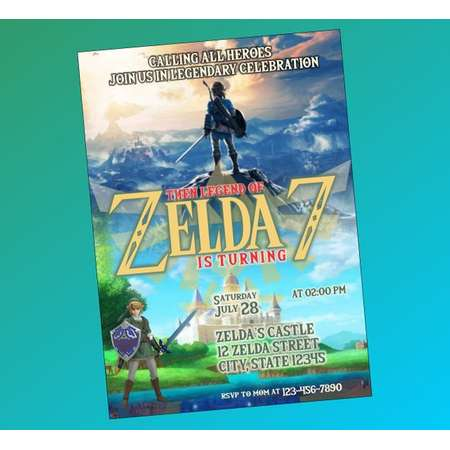 Legend of Zelda Invitation, Legend of Zelda Birthday, Zelda Birthday Party, Zelda Party,The legend of zelda Party invitation, Zelda Birthday thumb