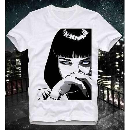 Mia Wallace Cocaine Blow Pulp Fiction Tarantino Cult Movie  Retro Vintage T Shirt Tee thumb