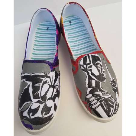 Black Panther and Okoye Handmade Wakanda Forever Shoes thumb