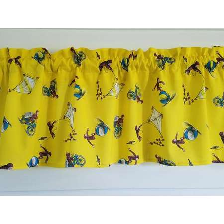 """Back to School Curious George School room Student Yellow 42"""" Valance Curtain thumb"""