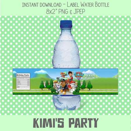 Paw Patrol Water Bottle Labels, Paw Patrol Birthday Party Labels, Paw Patrol Printable Party Supplies thumb
