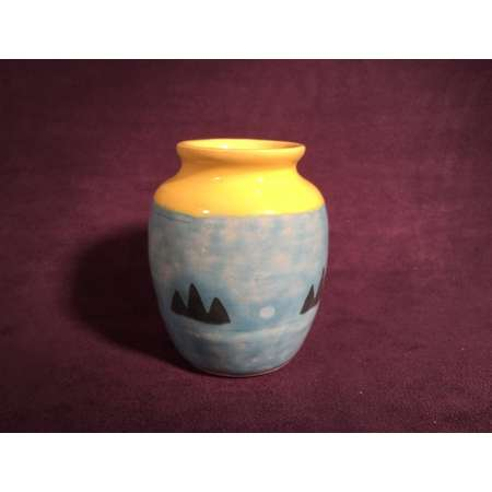 Zelda Pot BOTW - Clay Jar - Hateno Mountain Village - Breath of the Wild - Blue & Yellow - Pencil Holder - Legend of Zelda - Ceramic Pottery thumb