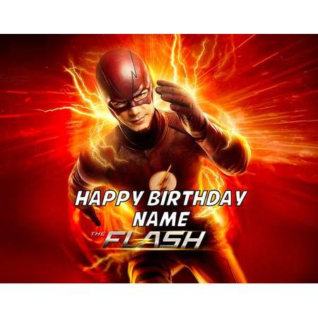 """The Flash Barry Allen Edible Image Cake Topper Personalized 1/4 Sheet or 8"""" Round thumb"""
