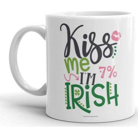 Custom Kiss Me I'm Irish White 11 Oz. Ceramic Coffee Mug - Perfect Gift for Irish Descendants, DNA Researchers, St. Patrick's Day, More! thumb