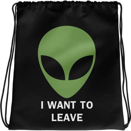 Alien Drawstring Bag | UFO Drawstring Backpack | I Want To Leave Drawstring Bag | Area 51 Drawstring Bag thumb