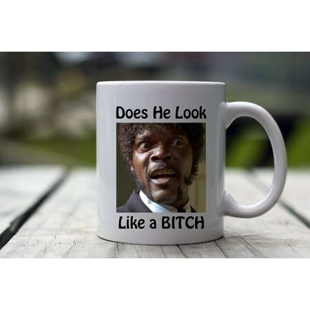 Does he look like a bitch, Pulp Fiction, Pulp Fiction Coffee Mug, Pulp Fiction Gift, Pulp Fiction Gift Idea, Pulp Fiction Gift Mug, Mug thumb