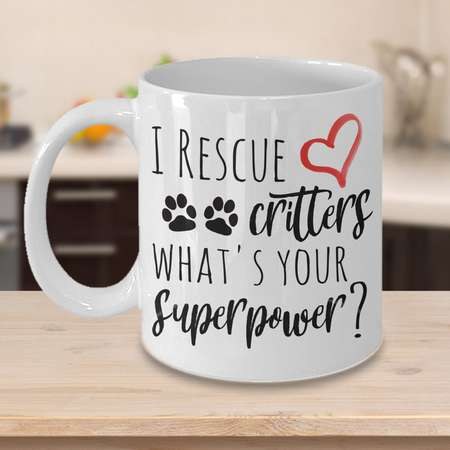 Animal Rescue Mug  - I Rescue Critters What's Your Superpower - Great Gift Coffee Cup for Vets, Vet Techs and Animal Rescuers thumb
