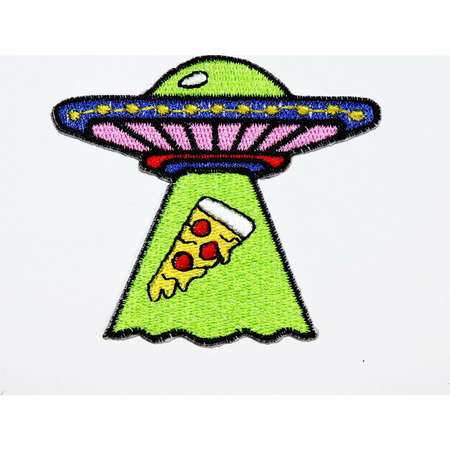 Funny Alien Patch UFO Flying saucer Kidnap Pizza Joke Cartoon Emblem Applique DIY Clothes Jean Jacket backpack Cap Embroidered Iron on Patch thumb