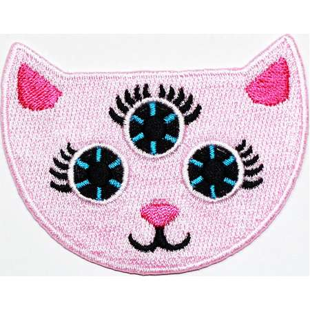 Alien Cat Patch Three eyes Kitty Monster Animal Pet Fashion Emblem Applique DIY Clothes Jeans Jacket Cap backpack Embroidered Iron on Patch thumb