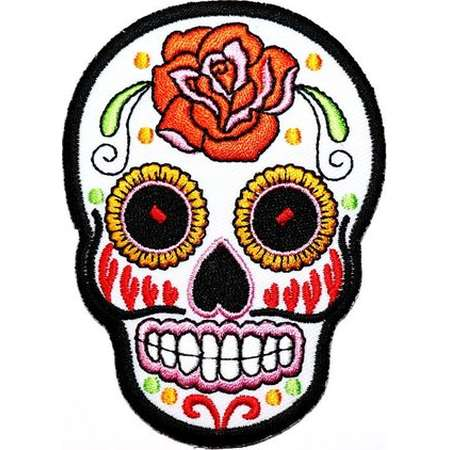 Sugar Skull patch Coco Day of the Dead Mexican Día de Muertos Emblem Applique DIY Clothes Jeans Jacket backpack Embroidered Iron on Patch thumb