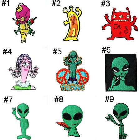 Alien patch NASA Space UFO Planet Monster X-File Universe Emblem Applique DIY Clothes Jeans Jacket backpack Embroidered Iron on Patch thumb