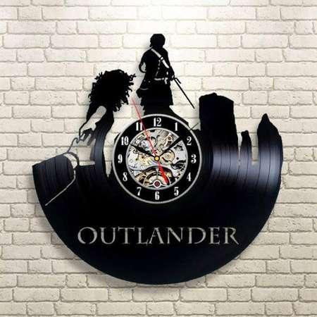 Outlander Serial Vinyl Record Wall Clock Movie Gift For Fan Wall Clock Modern Outlander Art Room Decor Wall Clock Large Handmade Gift thumb