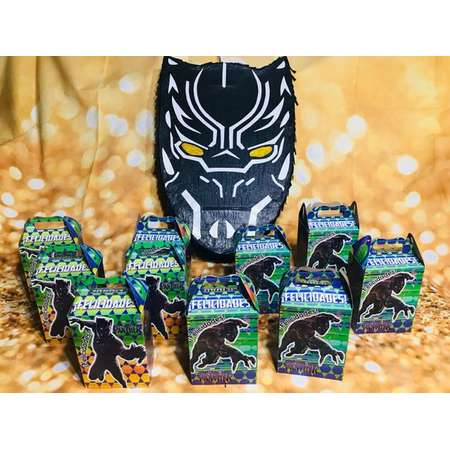 Black panther Party Favor Box Loot Bags Kids Birthday Party Supplies Treat Bags thumb