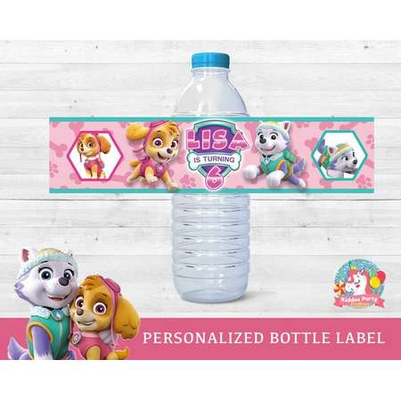 Paw Patrol girls Birthday water bottle labels party supplies, everest water bottle, skye water labels, everest skye bottle labels thumb