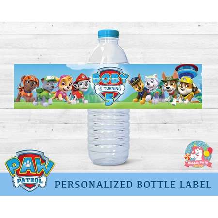 Paw patrol Birthday water bottle labels, paw patrol water bottle, paw patrol water labels, paw patrol bottle labels personalized custom thumb