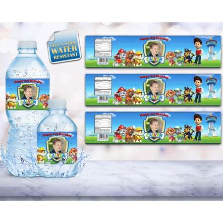 Water Bottle Label, Paw Patrol, Paw Patrol Water Labels, Printable, Paw Patrol Invitation, Paw Patrol Water Label, Water Resistant, Banner thumb