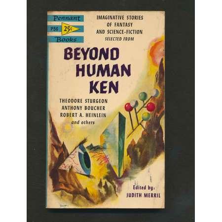 Pulp Fiction Sci-Fi Paperback book 1954- BEYOND HUMAN KEN- Theodore Sturgeon-Robtert A. Heinlein-short stories thumb