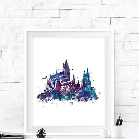 Hogwarts Castle Print Harry Potter Print Hogwarts Print Watercolor Artwork Painting Harry Potter Gift Printable Home Decor Instant Download thumb