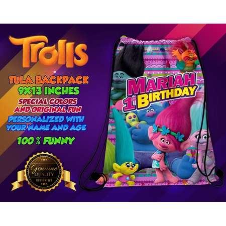 Trolls Bag Favor Trolls Drawsting Bag Trolls Party Trolls Birthday Trolls Custom bag Trolls Backpack Trolls Merch thumb